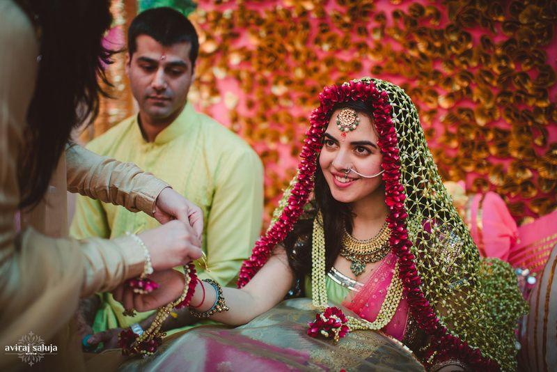 Mehndi Dupatta Decoration : Floral dupatta candid wedding and weddings