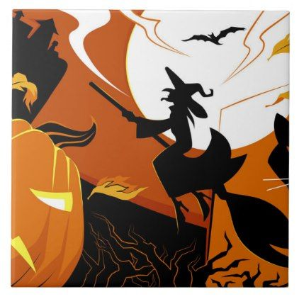 #Happy Halloween witch bats and pumpkins Tile - #Halloween happy halloween #festival #party #holiday