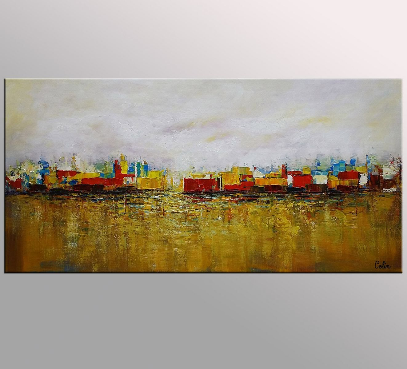 Abstract Painting, Cityscape Art, Canvas Wall Art, Landscape ...