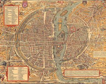 Map Of France 1500.City Of Paris France Map Ancient Ancient Map Of Paris Antique