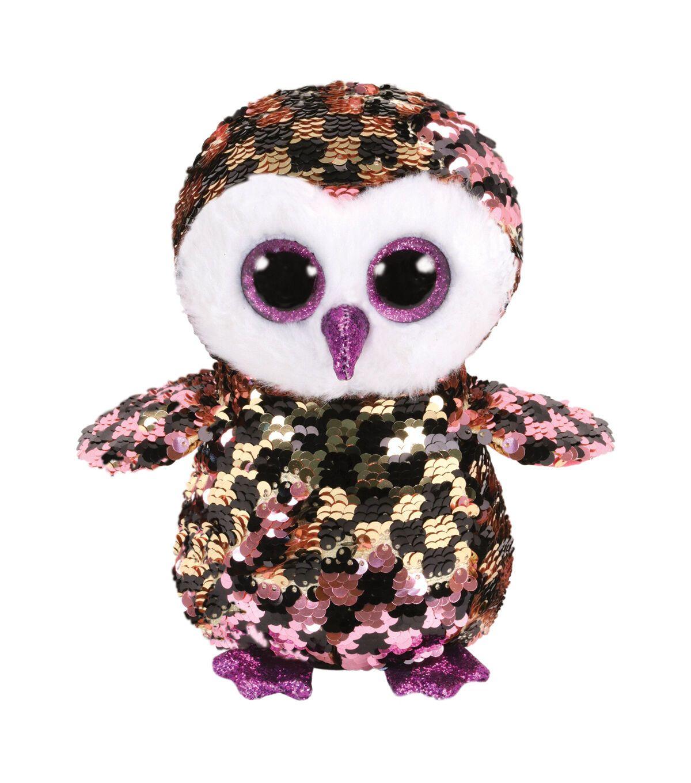 Ty Beanie Boo Sequin Owl Checks Em 2020 Olhos Grandes