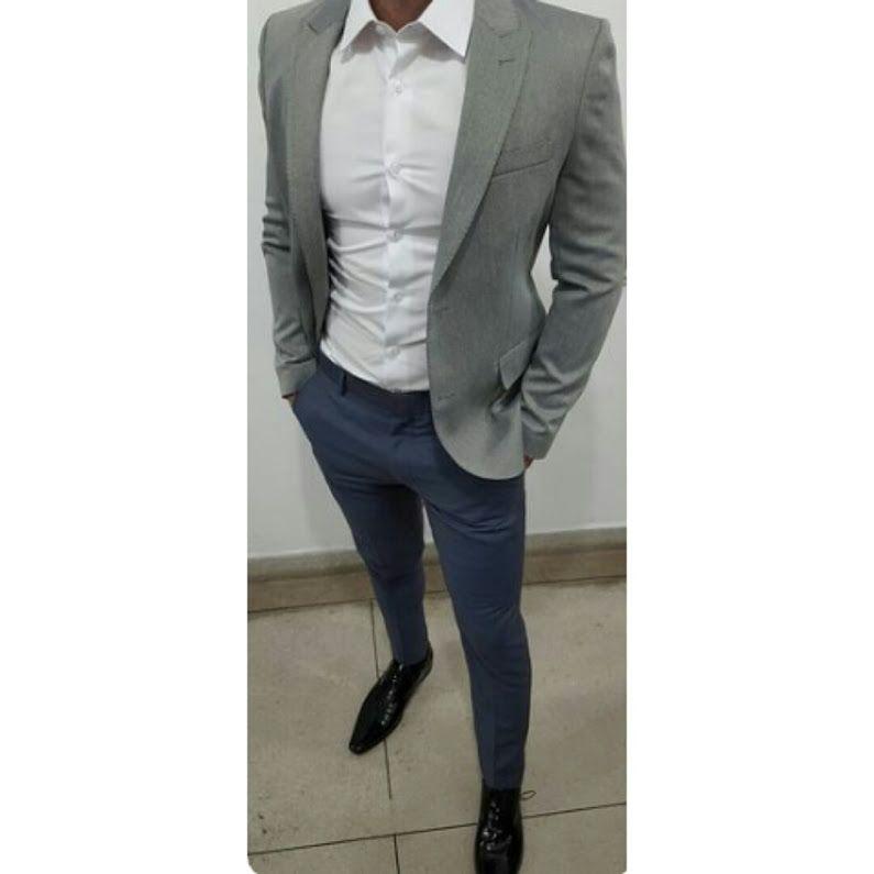 livrare gratuita verifică arătos Hoy con un outfit blazer gris , camisa blanca y pantalon azul ...