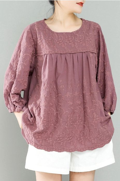 Loose Pink And White Embroidery Cotton Linen Shirt For Women S11034 #whiteembroidery
