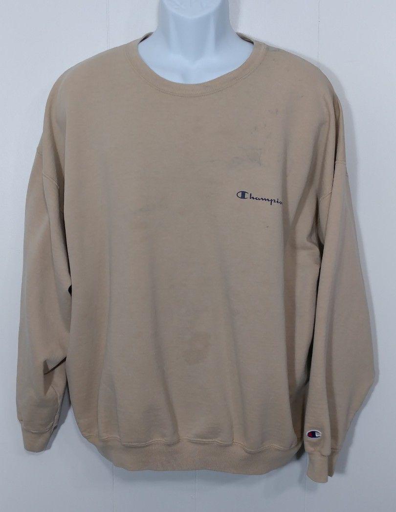 ea21b10909a9 Vintage Champion Crewneck Sweatshirt 2XL Tan Beige Spell Out Reverse Weave