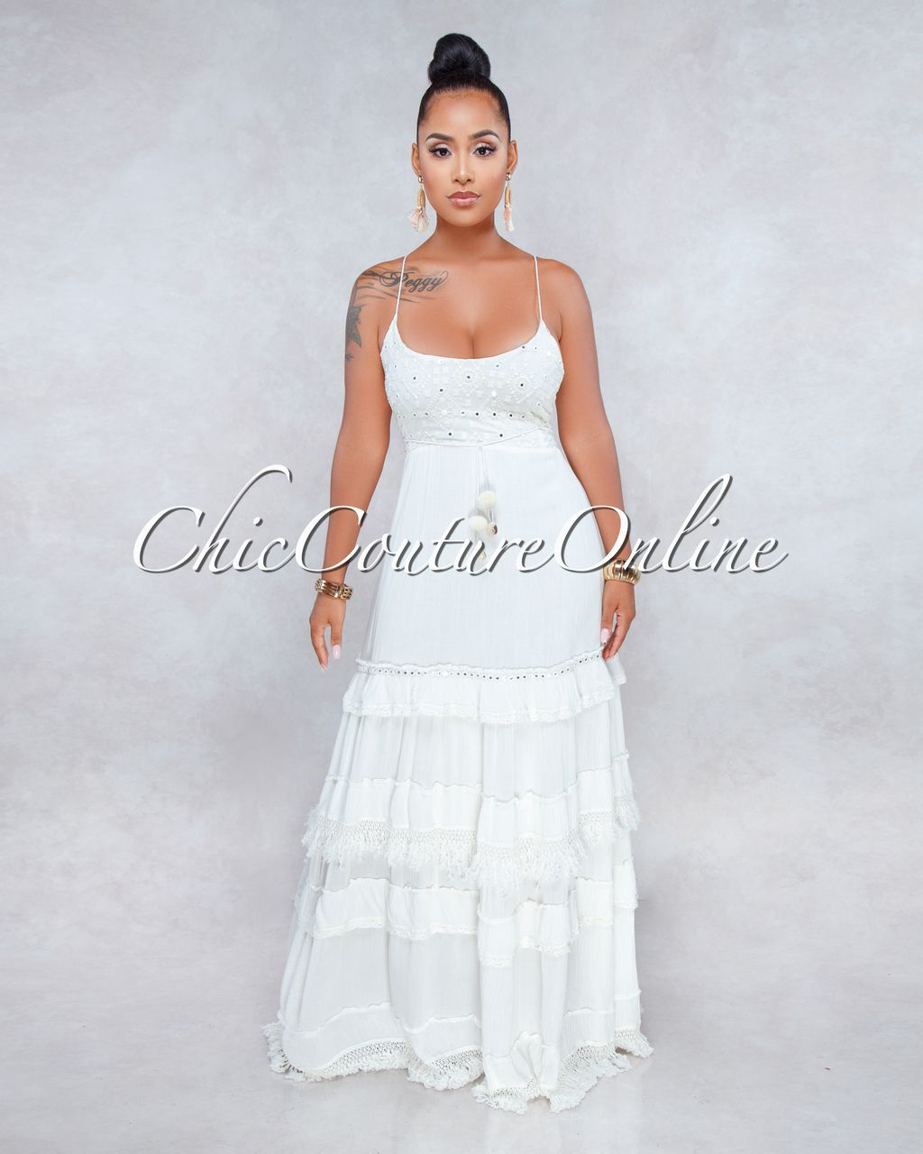 4c0607b6 Rania Off-White Sequins Accent Tier Maxi Dress in 2019 | Maxi ...