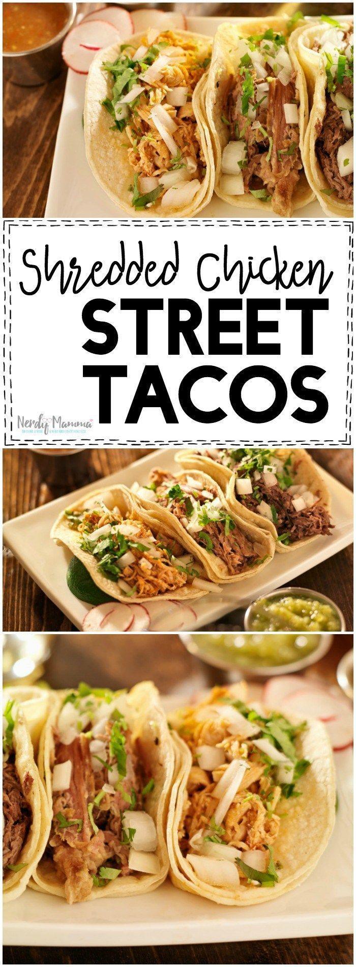 Shredded Chicken Street Tacos #tacorecipes