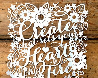 Papercut Template PDF 'Create What Sets Your Heart on Fire' Cut Your Own Papercut by Samantha's Papercuts