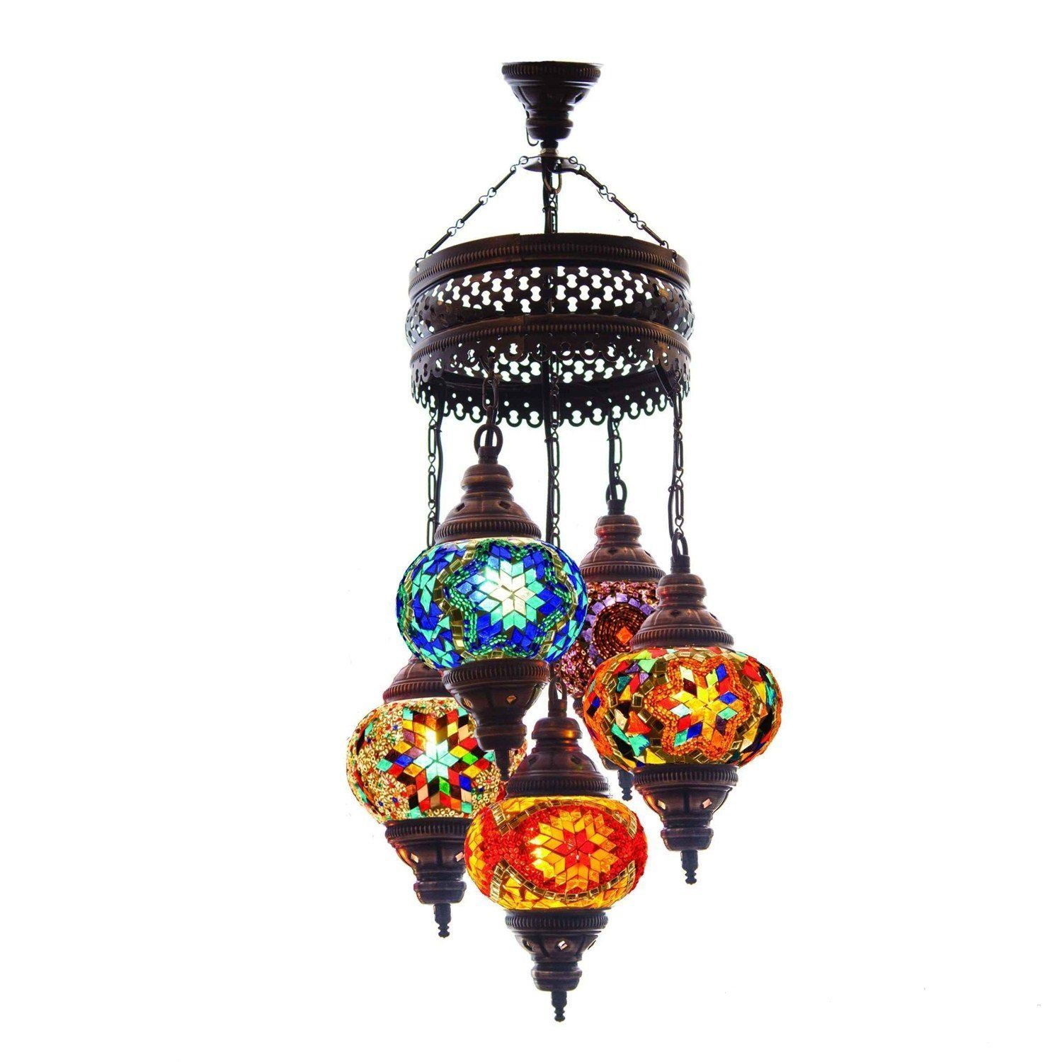 Turkish Authentic 16 Globe Mosaic Chandelier Mosaic Lamp Moroccan ...