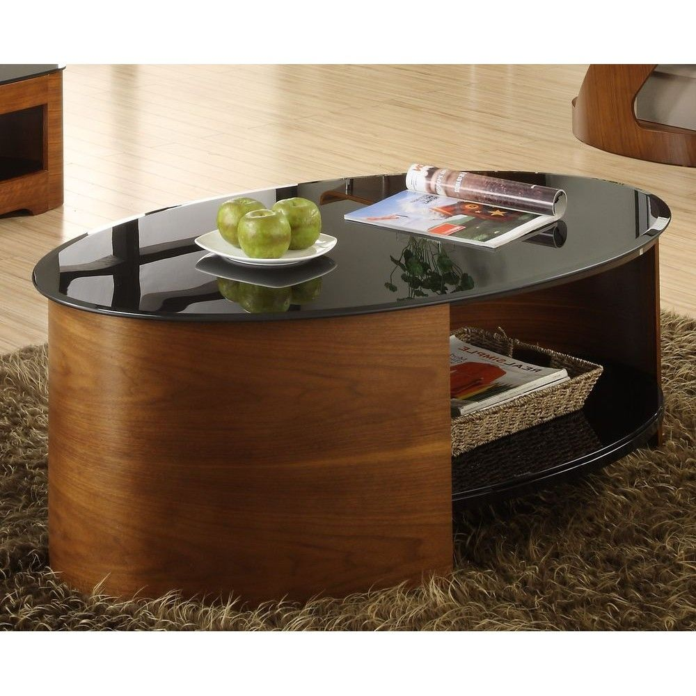 Jual Jf301 Wb Curve Walnut And Black Gl Oval Coffee Table From Chase Av