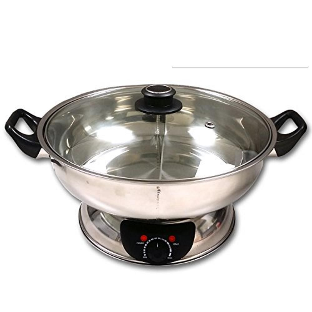 Sonya Shabu 7.75 in. Stainless Steel Electric Wok Mongolian Hot Pot with Broiler-SYHS30 - The Home Depot