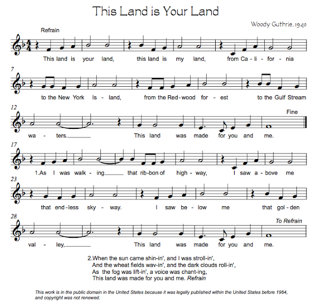 Beths Music Notes This Land Is Your Land Music Class