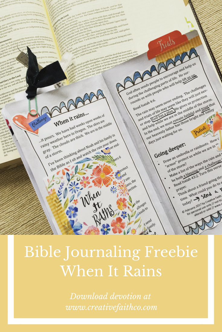 Freebie: When it Rains Collaboration | Bible Journaling Freebies