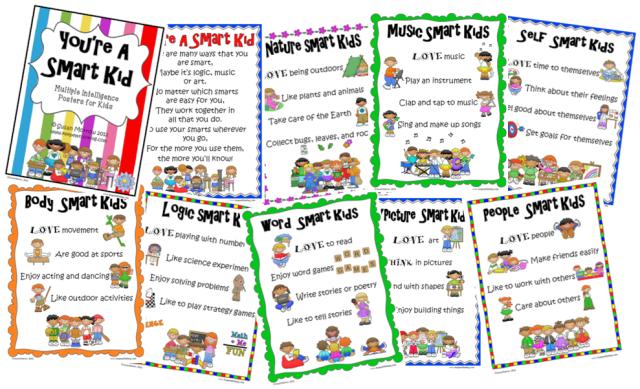 Free Multiple Intelligences Posters for Kids | Multiple ...