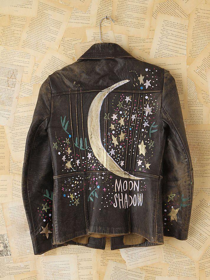 hand paint on vintage leather Painted leather jacket