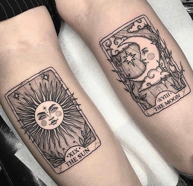Bodyart Magazine On Instagram Sun And Moon Tattoo Lorencrawley Tarottattoo Tattoo In 2020 Tattoos Card Tattoo Tarot Card Tattoo