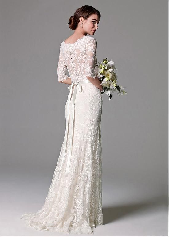 Elegant Lace Bateau Neckline Sheath Wedding Dresses At Dressilyme