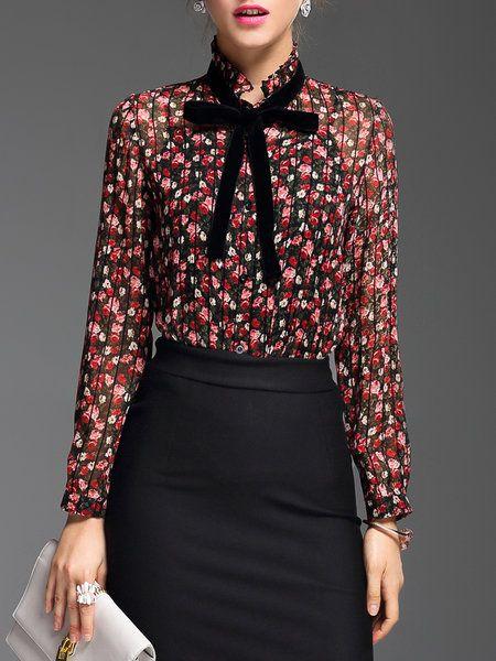 d09752cc0054d8 Ruffled Long Sleeve Elegant Floral Blouse | Tops
