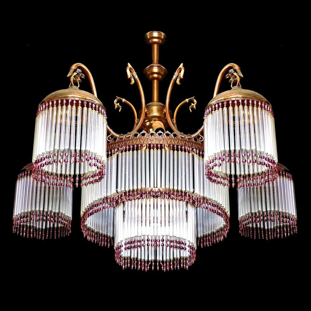 Antique french art nouveaudeco glass strawbead fringe5 dome antique french art nouveaudeco glass strawbead fringe5 dome shades chandelier arubaitofo Choice Image