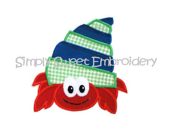 Hermit Crab Applique Design by SimplySweetEmbroider on Etsy, $4.00