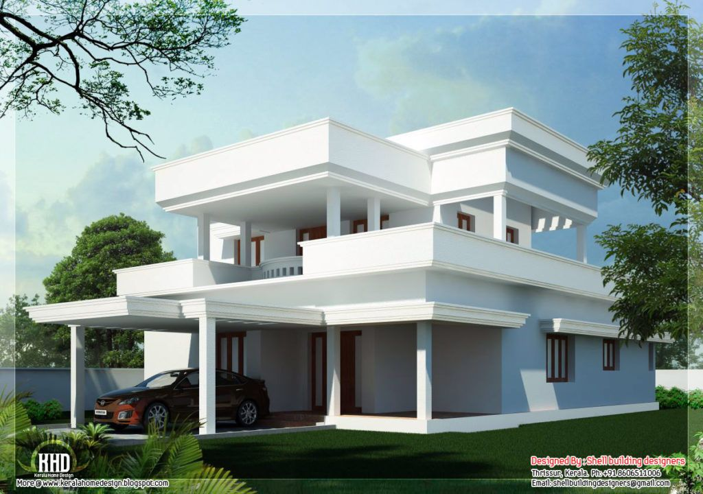 Nice Simple Flat Roof 4 Bedroom Indian Home Design Ideas