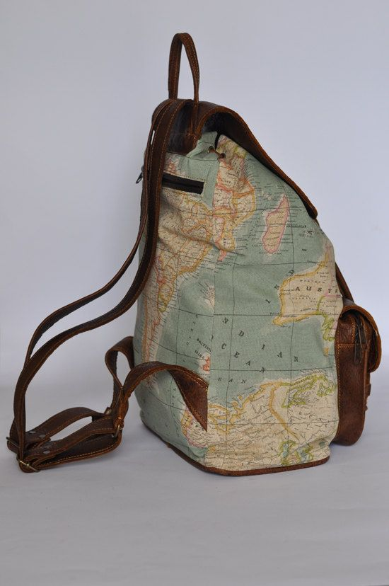 Genuine leather and world map atlas print backpack by doubleedge genuine leather and world map atlas print backpack by doubleedge gumiabroncs Choice Image