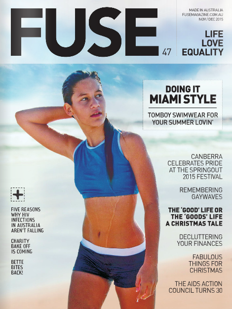 145424485b22b Outplay on FUSE Magazine cover Miami Beach South Beach model wearing  Outplay swimwear for tomboys lesbian cover photo