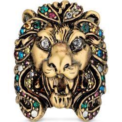 Photo of Löwenkopf-Ring mit mehrfarbigen Kristallen Gucci