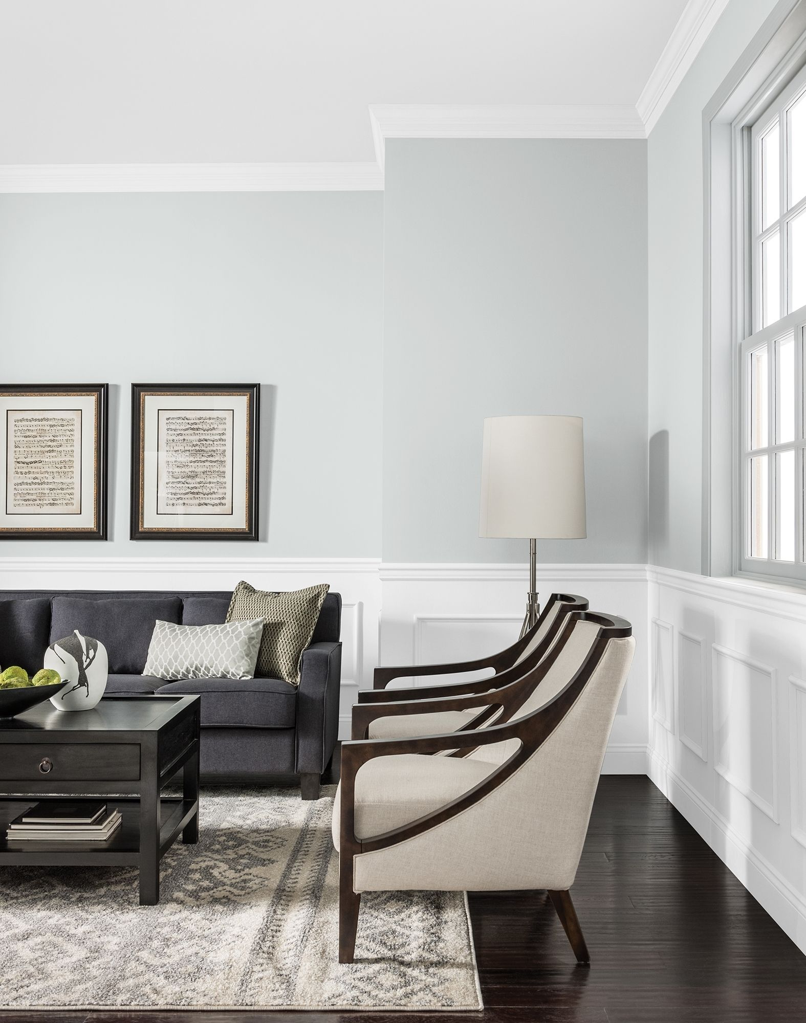 A Hint Of Green Grey For A Living Room Space Add Some Pops Of