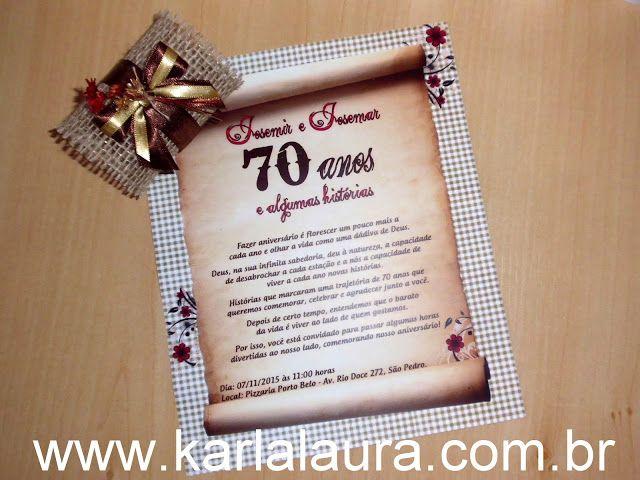 Convite De Aniversário Rústico 70 Anos Josemir E Josemar