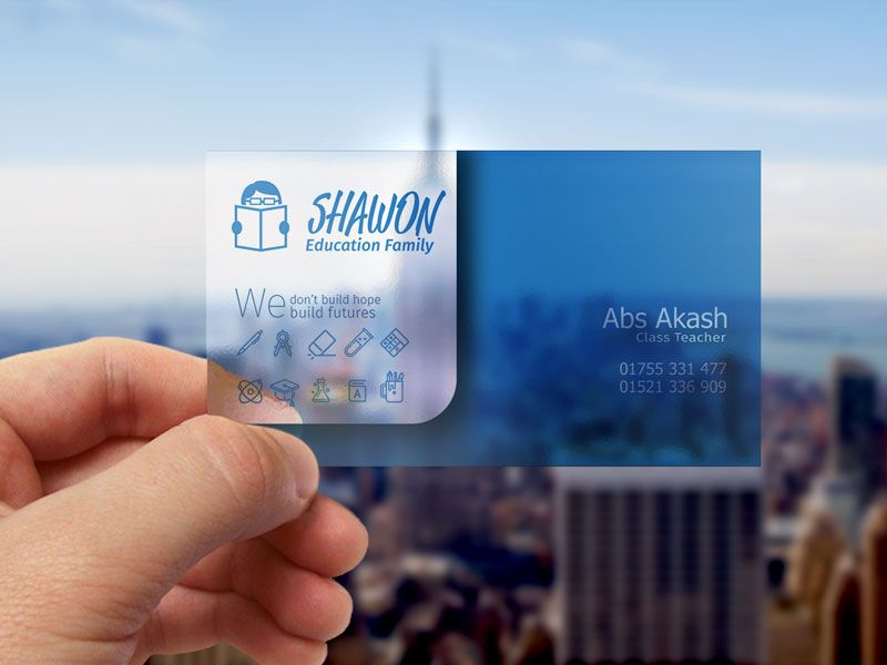 translucent plastic business card  transparent business