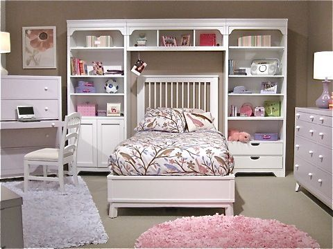 girls bed with bookcase towers & bridge, matching desk, bureau dresser, &  chair - Girls Bed With Bookcase Towers & Bridge, Matching Desk, Bureau