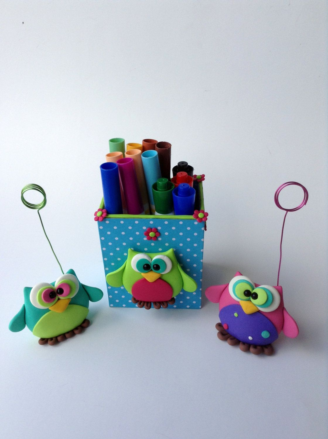 Ordinaire Owl Office Desk Set Polymer Clay Owl Office Decor Green Purple Blue Pink Owl  Set