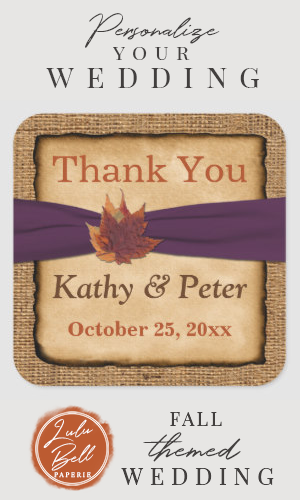PRINTED RIBBON Autumn Leaves 15 Wedding Sticker