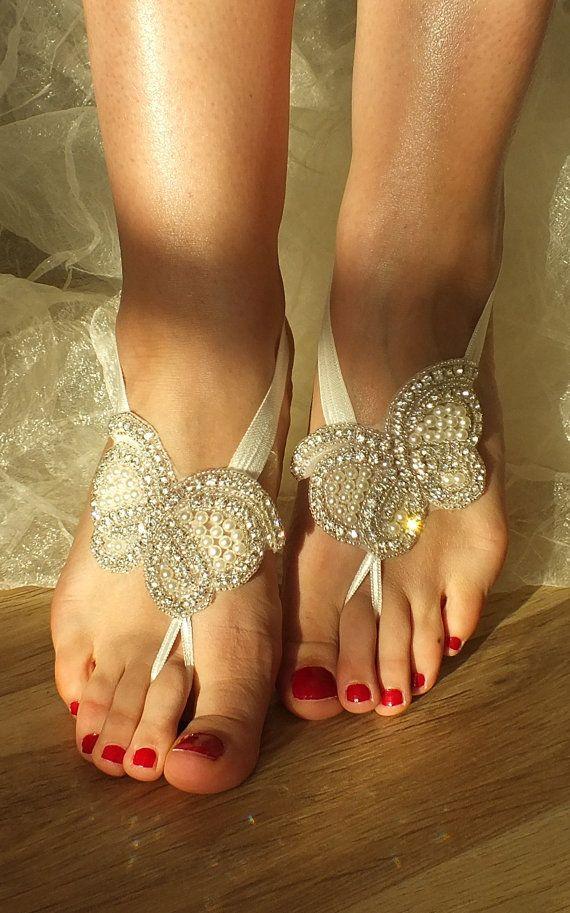 Rhinestone anklet Beach wedding barefoot sandals by WEDDINGGloves