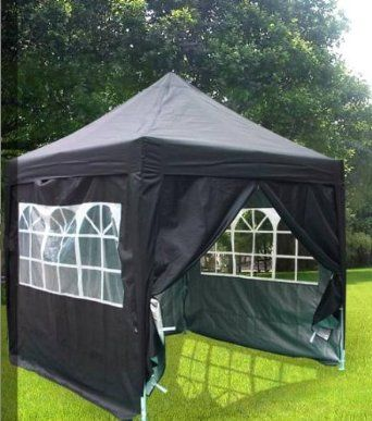 new 8x8 39 heavy duty pyramid pop up gazebo canopy party tent black sports outdoors. Black Bedroom Furniture Sets. Home Design Ideas