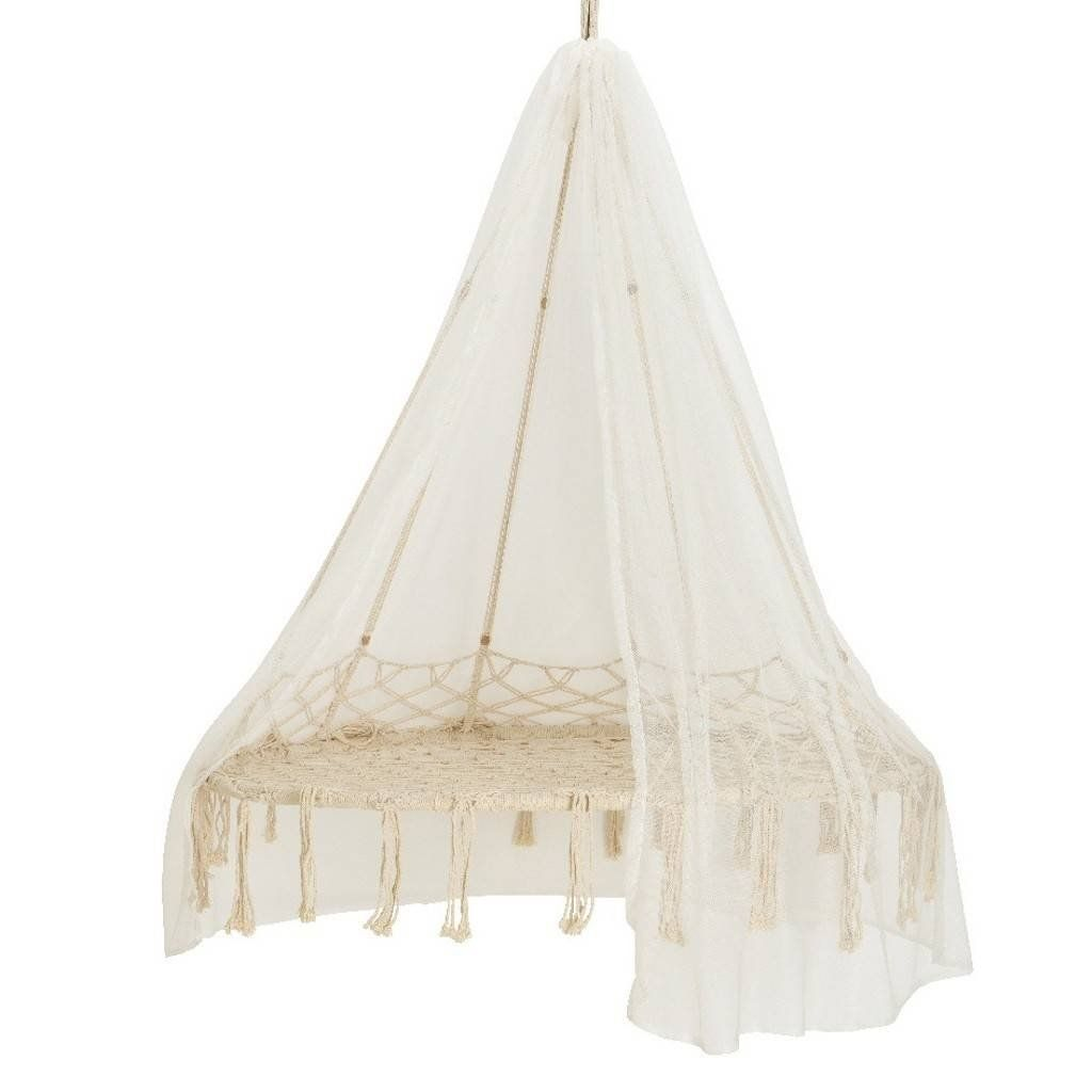 17 Lively Shabby Chic Garden Designs That Will Relax And: Macrame Hanging Chair With Canopy In 2020