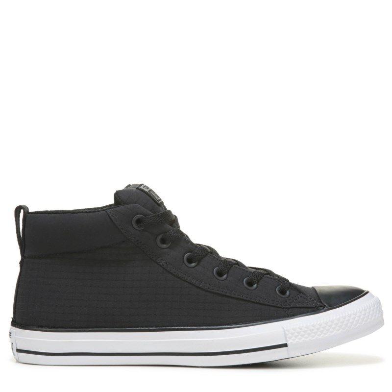 Black · Converse Men's Chuck Taylor All Star Street Ripstop Mid Top Sneakers  (Black/White Nylon