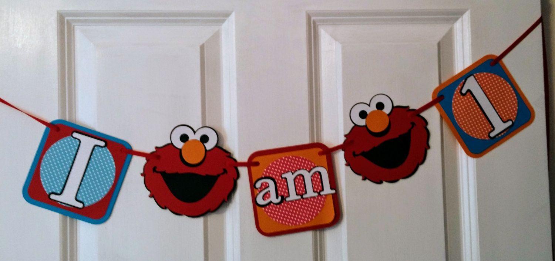 Elmo Banner, Elmo High Chair Banner, I am 1, Sesame Street