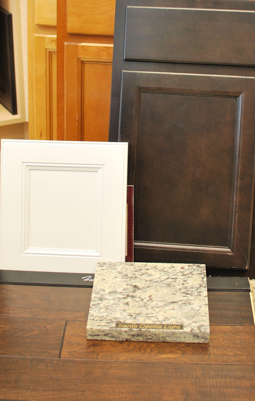 Santa Cecilia Light Granite Kitchen Option 2 Level 4 Cabinets White Perimeter With Espresso Island