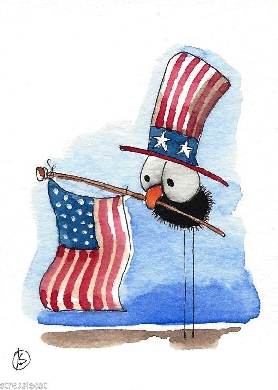 ACEO Original watercolor painting patriotic art bird crow American flag hat