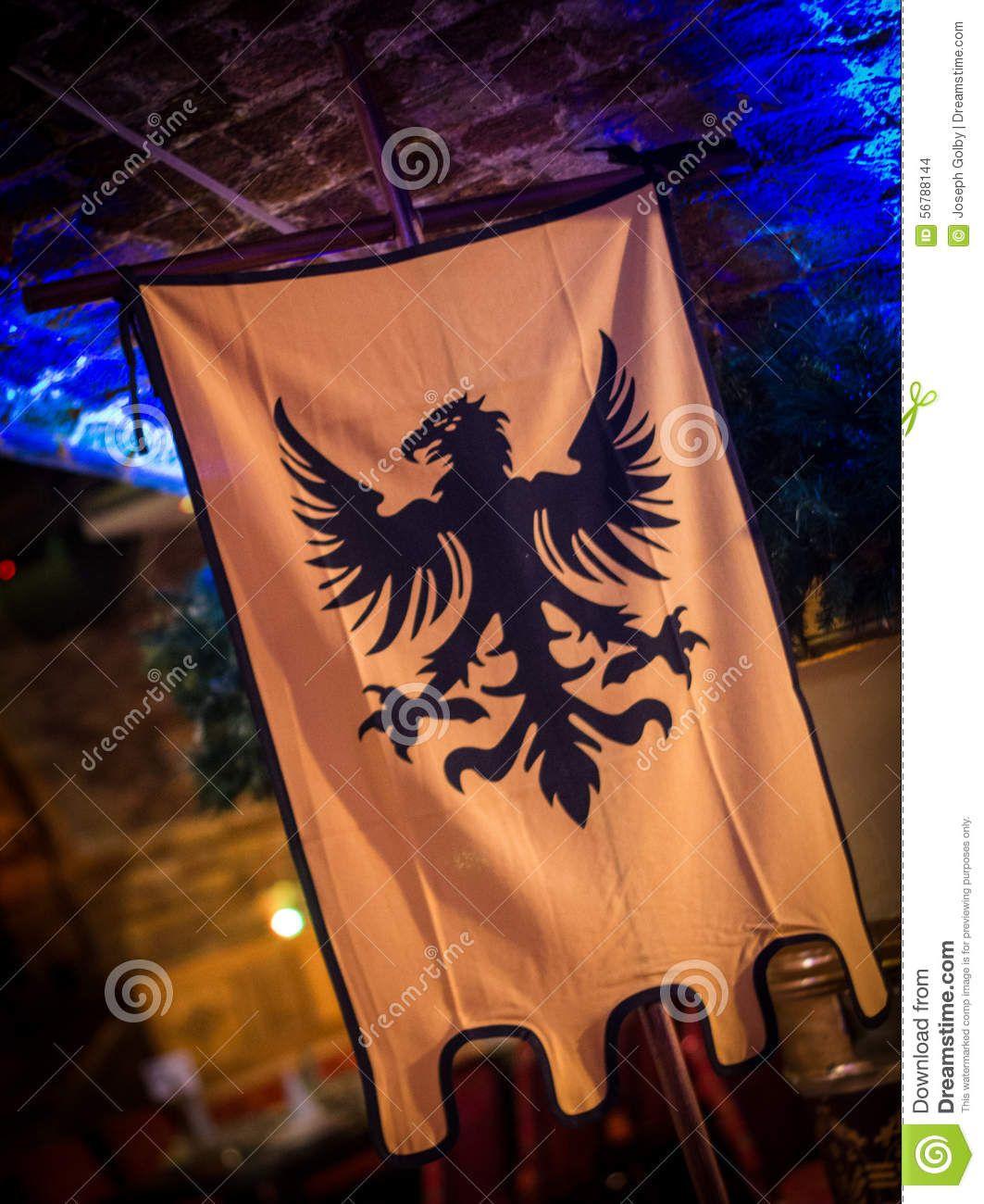 Medieval Style Bird Banner  Historical Flag Stock Photo