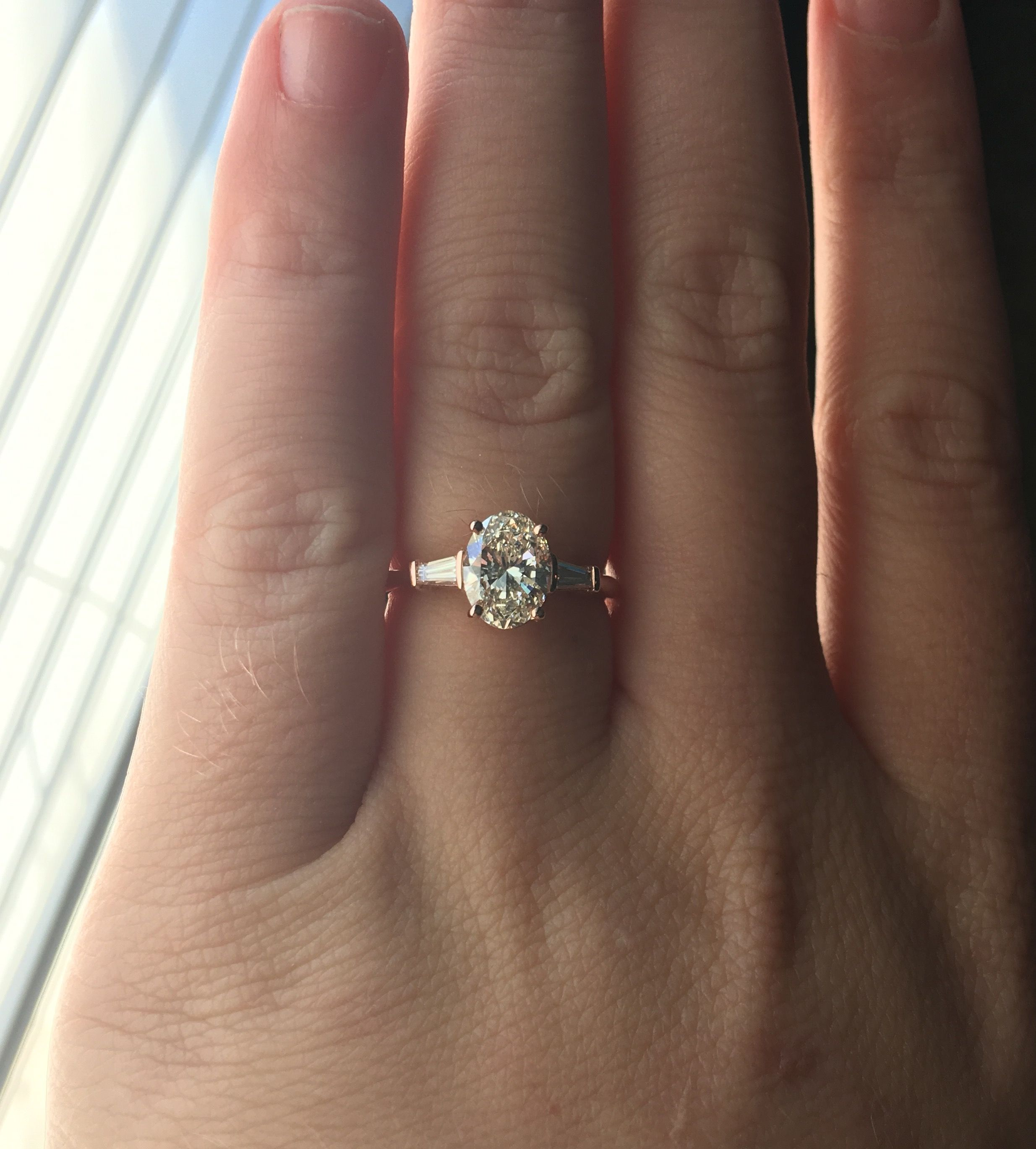 The Ring Rose Gold Oval Engagement Ring 1 75ct K Color Diamond Baguettes Rose Gold Oval Engagement Ring Classic Engagement Rings Gold Oval Engagement Ring