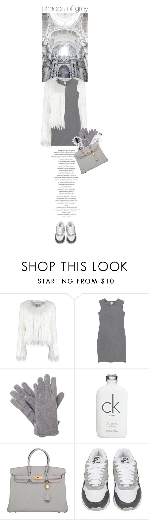 """shades of grey"" by rosa-loves-skittles ❤ liked on Polyvore featuring Monki, Isotoner, Moschino Cheap & Chic, Calvin Klein, Hermès, NIKE, women's clothing, women, female and woman"