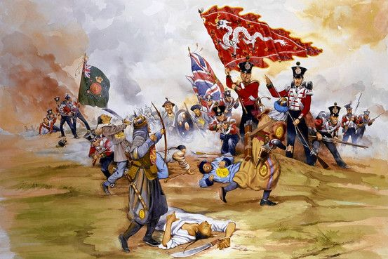 british infantry attack chinese troops during the st opium war  british infantry attack chinese troops during the 1st opium war 1842