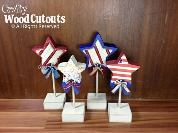 Stars On Dowels Crafty Wood Cutouts Crafts Patriotic Crafts Fourth Of July Decor