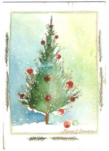 Gemalte Weihnachtskarten.Joulu Mi Kuusi Mi Advent Aquarell Weihnachten Gemalte