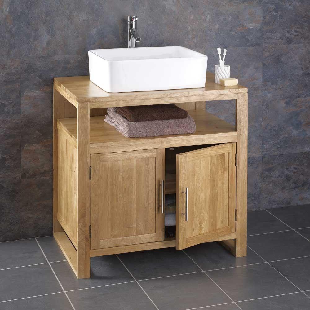 Cube Solid Oak Minimal Contemporary Bathroom Basin Washstand