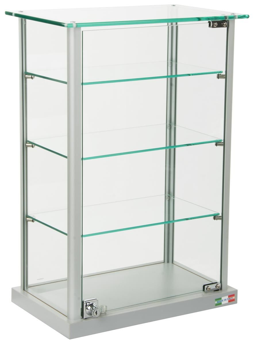 Countertop Display Case W Glass Canopy Top 3 Shelves Silver