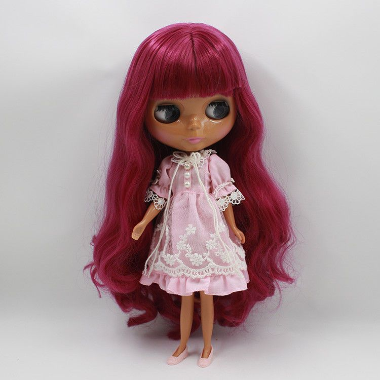 12 Blythe Doll Nude Long Pink curly hair from factory