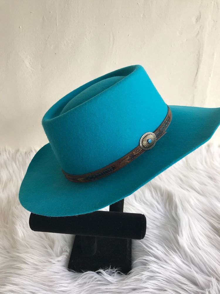 ff50d0d1b5144 Dorfman Pacific Co. Felt 100% Wool Fedora Hat Medium Turquoise Blue Leather  Band  DorfmanPacific  FedoraTrilby